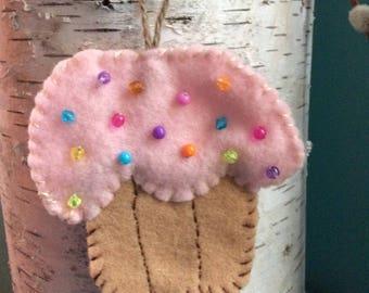 Handmade cupcake ornament