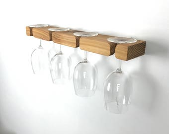 Wine Glass Storage - Wall Mounted, Modern and Minimal Wood Design