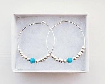 NEW Small beaded silver hoop earrings, sterling silver hoops, turquoise earrings, silver earrings, 1 PAIR,