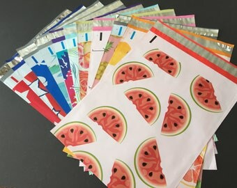 25 YOU CHOOSE Assorted Designer Poly Mailers 10x13 Citrus Peacock Pineapple Watermelon  Flags Stars Tie Dye Flamingo Envelopes Shipping Bag