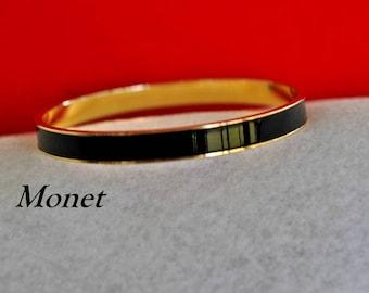 Vintage Monet Black Bangle, Gold Tone, Monet Bracelet, Black Bracelet, Enameled Bracelet, Monet Jewelry, Gold Bracelet, Monet Bangle 18-149