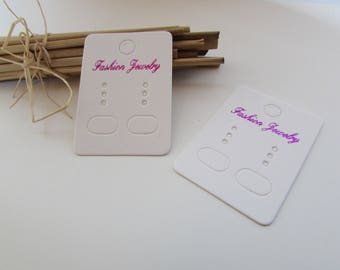 45 displays for earring in white cardstock - 4.5 x 3.2 cm - ref 3.23