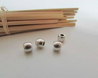 10 Pearl tube 5 x 6 mm antiqued Silver - 3 mm hole - 350.34