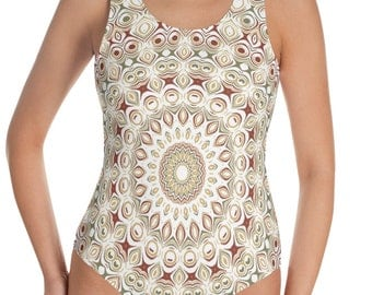 Earthy Tones Swimsuit Women One Piece, Boho Bathing Suit Bodysuit, Printed Swimming Suit