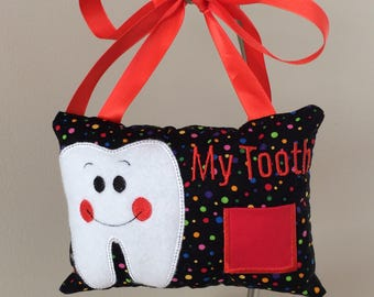 Polka Dot Plain My Tooth Fairy Pillow Gender Neutral for Girls or Boys with Red Pocket
