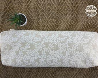 Zafu bolster rectangular Amma Therapie   Yoga, meditation, stretching & sleeping cushion   Buckwheat hulls   Canvas Cotton natural   Leaves