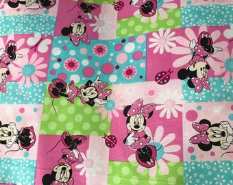 Disney Pink Minnie Mouse fabric, Disney fabric, Minnie fabric, kids fabric, cartoon fabric, cotton fabric, Minnie Mouse
