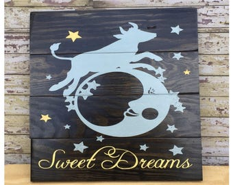 SWEET DREAMS Baby Boy Hand Painted Wooden Sign - Nursery Decor - Baby Shower Gift