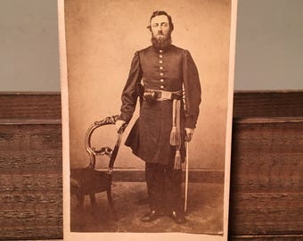 CDV of a Double-Armed Union Officer, Civil War Carte de Visite, 19th Century Antique Photograph