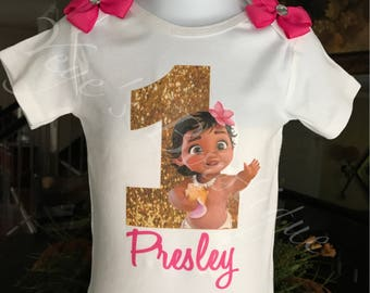 Hot Pink Baby Moana Birthday Onesie | Fuchsia Moana Birthday Shirt | Personalized Birthday Onesie | Custom Birthday Shirt | 1st 2nd 3rd 4th