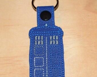 Dr. Who  Inspired Tardis Keyfob Bag tag Zipper pull. Don't Blink