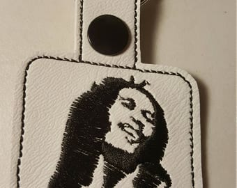 Bob Marley key fob key chain zipper pull bag tag