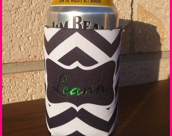 Black and White foldable Chevron Can/Stubby Cooler