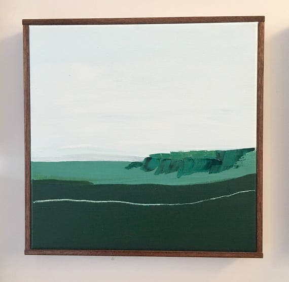 Green Seascape Original Painting Abstract