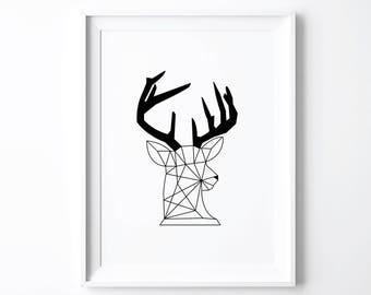 Deer Print, Art Prints, Origami Deer, Nursery Decor, Black White Kids Room, Woodland Nursery, Woodland Baby Shower Gift, Rustic Wall Art