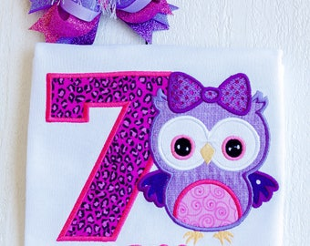 Owl birthday shirt, owl birthday party, hoot birthday, leopard birthday shirt, purple owl