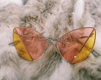 Yellow/Pink Color Block Sunglasses
