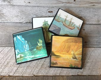 Retro Coasters -Sailing