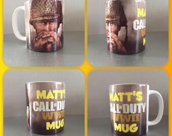 personalised mug cup call of duty ww2 game gamer playstation x box microsoft :)
