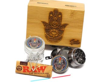 "Hamsa Laser Etched Sacred Geometry Stash Box, 1.6"" Zinc Alloy Grinder, Small Stash Jar - ALL IN ONE Box Package Item# WBCS111617-5"