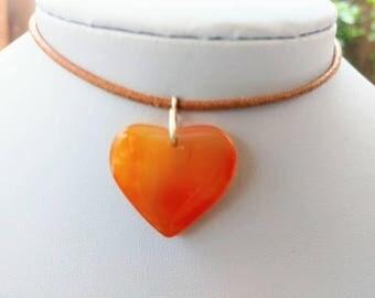 Orange stone heart pendant leather choker