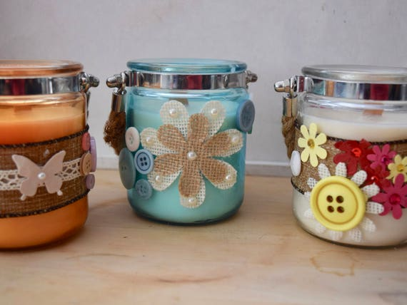 Handmade Scented Votive soy candle metal collar, rope carrying handle, decorated flowers, buttons, lace and string, birthday, Christmas gift