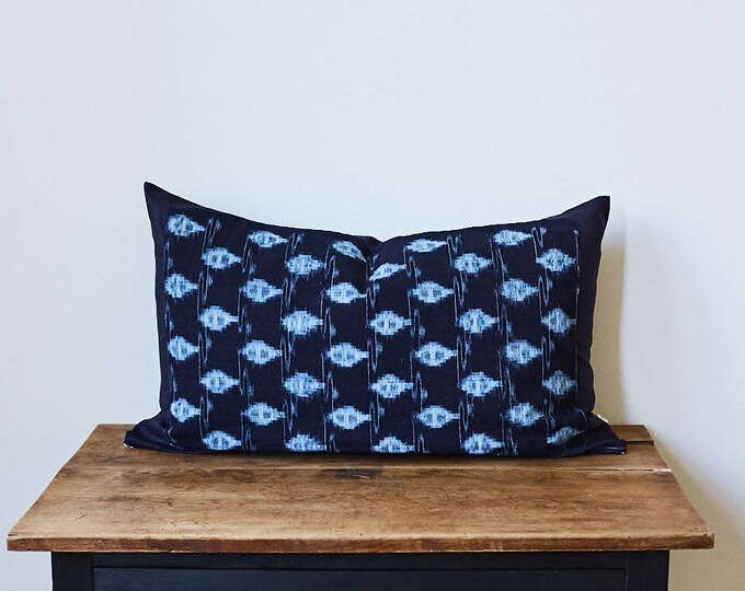"Vintage Japanese indigo Ikat pillow 16"" x 26"""