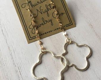 Small Quatrefoil Drop Earrings
