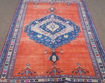 Red And Blue Persian Rug, Vintage Blue And Red Persian Rug, 5 X 8