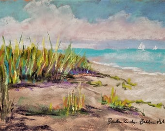 Beach Dunes, Original painting in pastel ready for framing  Beach Grasses and Sails