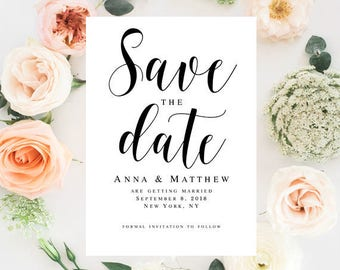 Wedding save the date template Wedding template Printable save the date Wedding announcement template Save the date Beach wedding #vm31
