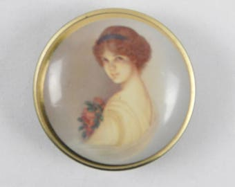 Vintage Empty Tiny Chambers Candy Company Metal Advertising Tin Victorian Lady Girl Flowers Round Bath Dresser Trinket Box Vanity