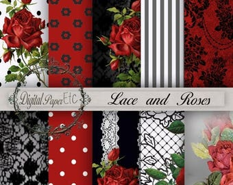 SALE Red and Black Digital Paper, Red Roses and Lace,Red and Black, Digital Background Paper, Red and Black Digital Sheets, Digital Papers P