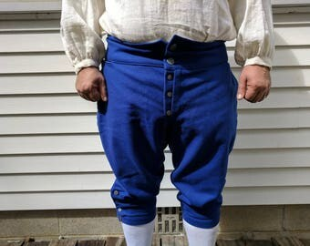 Wool French Fly Breeches, Breeches, Fall Front Breeches, 18th Century Clothing