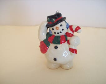 Snowman Holding Candy Cane 4-Inch Ceramic Figurine Ornament. Vintage. Price Includes Shipping.