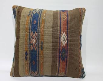 "Vintage Turkish Kilim Pillow Cover Stripe Desing Cushion Cover Cases Home Decor Pillows  Handmade Kilim Rug Pillow Cover 16"" x 16""  2641"