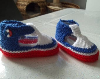 cocorico-special patriotic baby booties 0-3 months.