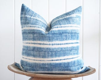 African Indigo Ivory Stripes Pillow Cover Vintage Tribal Boho Coastal with 100% Belgian Linen backing Exposed Gold Zipper