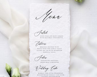 Cécile Handmade Paper Menus, Deckled Edge Paper Menu, Wedding Stationery Menus, Menus for all Events, Calligraphy Menu, Script Menus