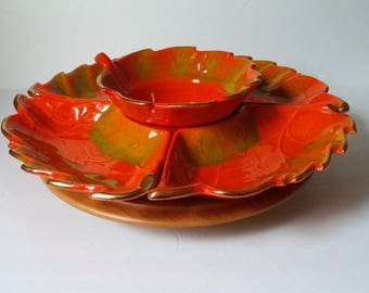 California Pottery Orange Leaf Gold Trim with Lazy Susan Stand Serving Set