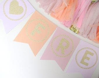 Pink, Peach, Blush & Gold Glitter Personalised Bunting. Hen Do | Anniversary | Wedding | Engagement Party | First Birthday | Cake Smash
