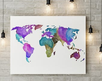 Watercolor World Map World Map Prints World Map Print World Map Poster
