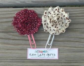 Polka dot Shabby flower bookmark set for her, Gift for librarian, Book lovers gift, Pink flower bookmarks,  Reader gift idea