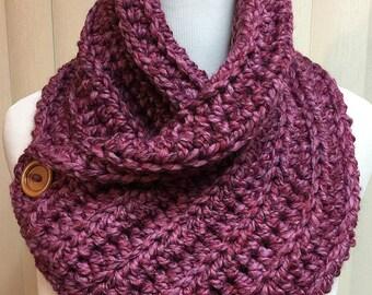 Crochet Neckwarmer Scarf, Pink Neck Warmer, Button Scarf, Pink Button Scarf, Pink Neckwarmer, Chunky Neckwarmer, Winter Accessories