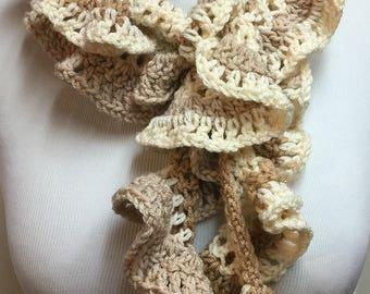 Beige Ruffle Scarf, Skinny Spiral Scarf, Beige Crochet Scarf, Skinny Long Scarf, Fashion Scarf, Gifts for Her, Lightweight Scarf