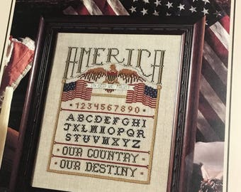 Vintage American sampler cross stitch pattern from leisure Arts