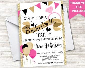 Bachelorette Party Invite Invitation Digital Gold Glitter Weekend Fling Ring Bach Bash 5x7 Bride Tribe Squad
