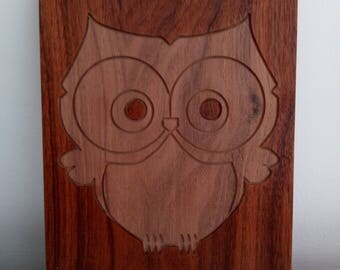 Carved owl in walnut, forest night cute wood carving art figure, bird of prey wall art