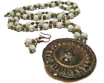 Rustic Howlite and Unakite Hand Crafted Vintage Modern Beaded Necklace and Earrings By SoniaMcD