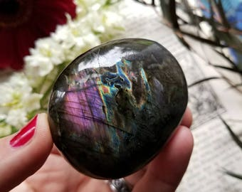 Large Labradorite Palmstone, Labradorite Palm Stone, Purple Flash, Spectrolite, Metaphysical Crystal